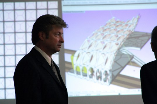 Del Rey Loven, Artist, Professor and Director of Myers School of Art at the University of Akron, Architecture Advisory Council Member and Original Visionary for the Architecture program at JU, attends Thomas Sharps Thesis Jury.