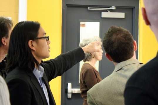 Gary Wang, Architect and Senior Designer at Machado Silvetti Architects in Boston, Architecture Advisory Council Member, visits with Thomas Sharp about his Thesis.