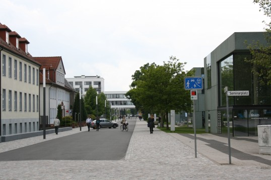 The Anhalt University Dessau campus recently received significant funding to renovate and restore its beautiful campus. The historic Bauhaus is in the background of this photograph.